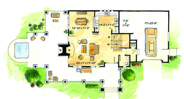 Craftsman Floor Plan - Main Floor Plan Plan #942-26