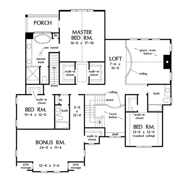Colonial Floor Plan - Upper Floor Plan Plan #929-977