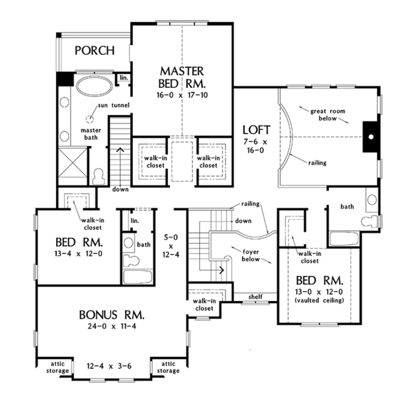 Architectural House Design - Colonial Floor Plan - Upper Floor Plan #929-977