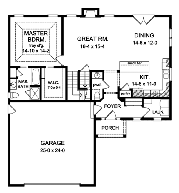Architectural House Design - Traditional Floor Plan - Main Floor Plan #1010-149