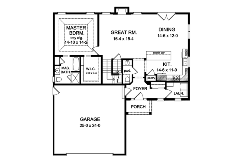 Traditional Floor Plan - Main Floor Plan Plan #1010-149