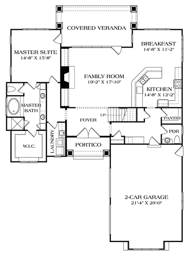 Craftsman Floor Plan - Main Floor Plan Plan #453-625