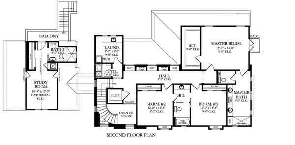 Mediterranean Floor Plan - Upper Floor Plan Plan #1058-174