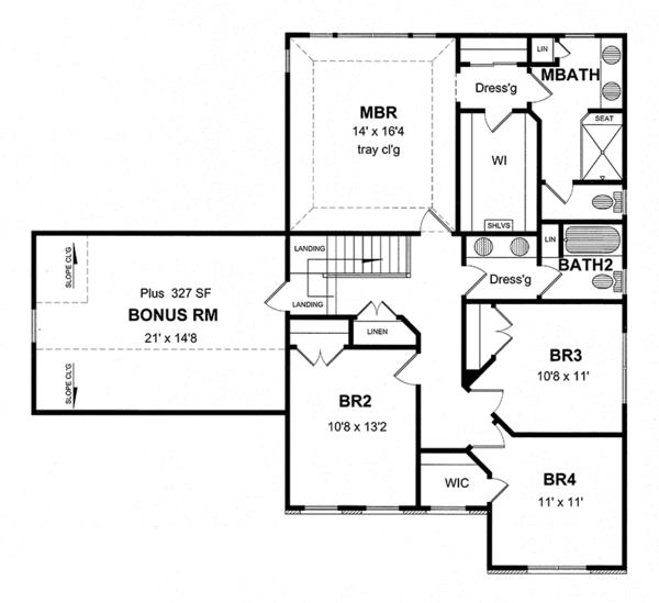 Traditional Floor Plan - Upper Floor Plan Plan #316-277