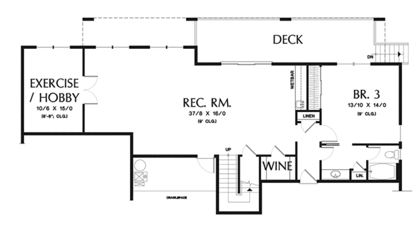Traditional Floor Plan - Lower Floor Plan Plan #48-915