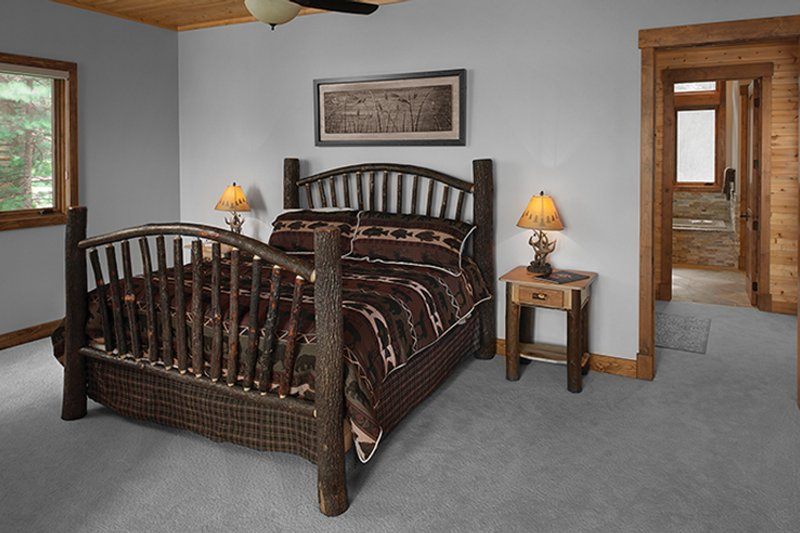 Log Interior - Master Bedroom Plan #928-263 - Houseplans.com