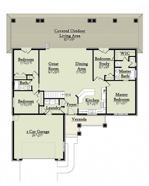 Ranch Style House Plan - 4 Beds 2 Baths 1863 Sq/Ft Plan #18-9543 Floor Plan - Main Floor Plan