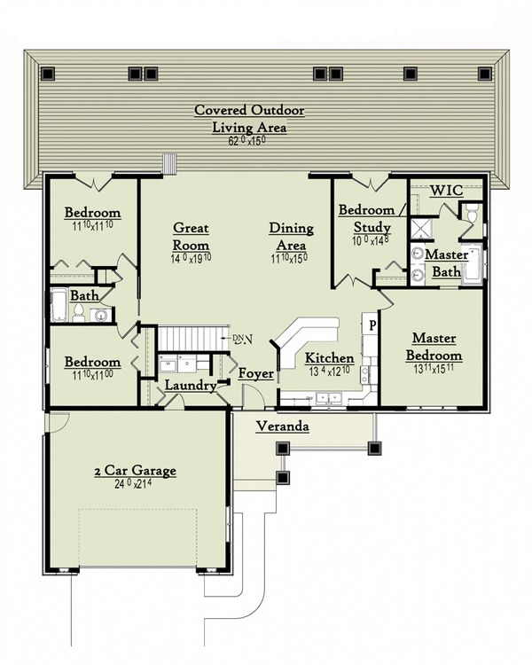 Architectural House Design - Ranch Floor Plan - Main Floor Plan #18-9543