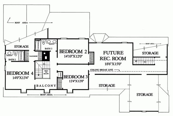 Colonial Floor Plan - Upper Floor Plan Plan #137-193