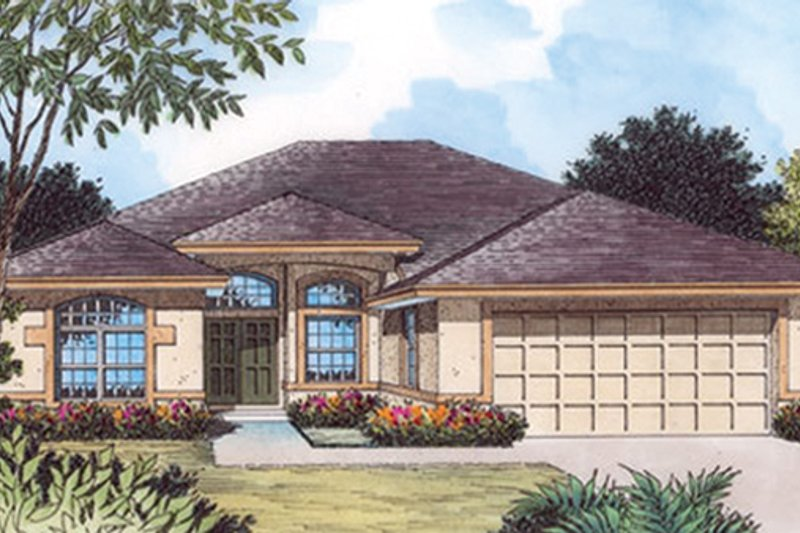 Architectural House Design - Mediterranean Exterior - Front Elevation Plan #417-804