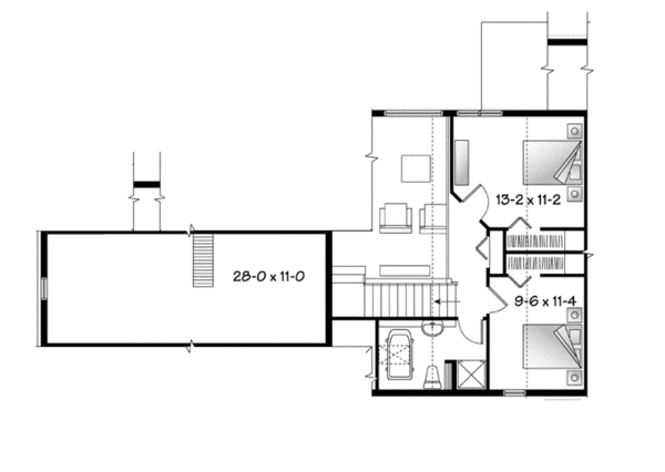 Country Floor Plan - Upper Floor Plan Plan #23-2590