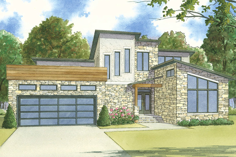 Contemporary Exterior - Front Elevation Plan #17-3393