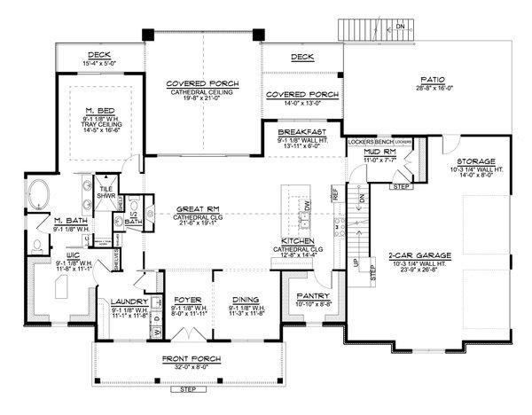 House Plan Design - Farmhouse Floor Plan - Main Floor Plan #1064-122