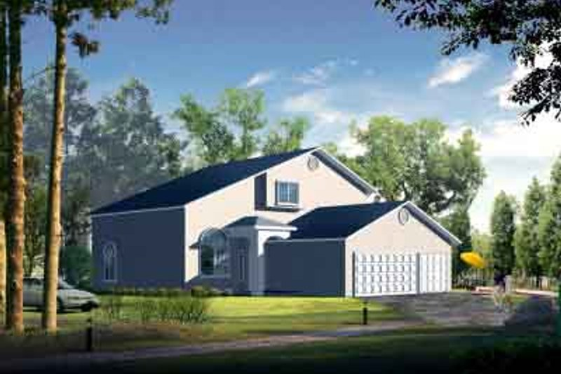 Adobe / Southwestern Style House Plan - 4 Beds 3 Baths 2650 Sq/Ft Plan #1-1087 Exterior - Front Elevation