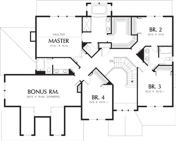 Craftsman Floor Plan - Upper Floor Plan #48-119