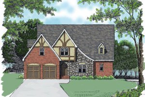 Architectural House Design - Tudor Exterior - Front Elevation Plan #413-136