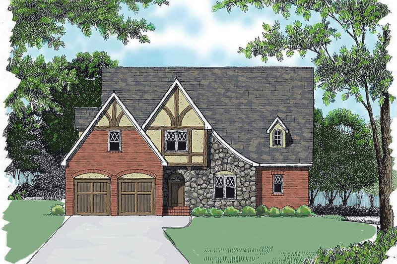 Dream House Plan - Tudor Exterior - Front Elevation Plan #413-136