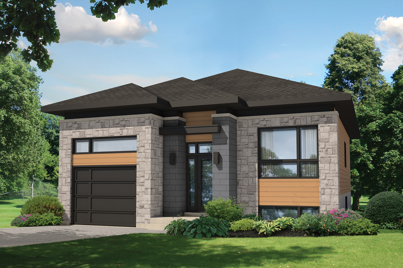 Contemporary Style House Plan - 2 Beds 1 Baths 1064 Sq/Ft Plan #25-4284 Exterior - Front Elevation