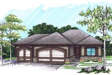 Home Plan - Ranch Exterior - Front Elevation Plan #70-1020