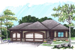 Ranch Exterior - Front Elevation Plan #70-1020