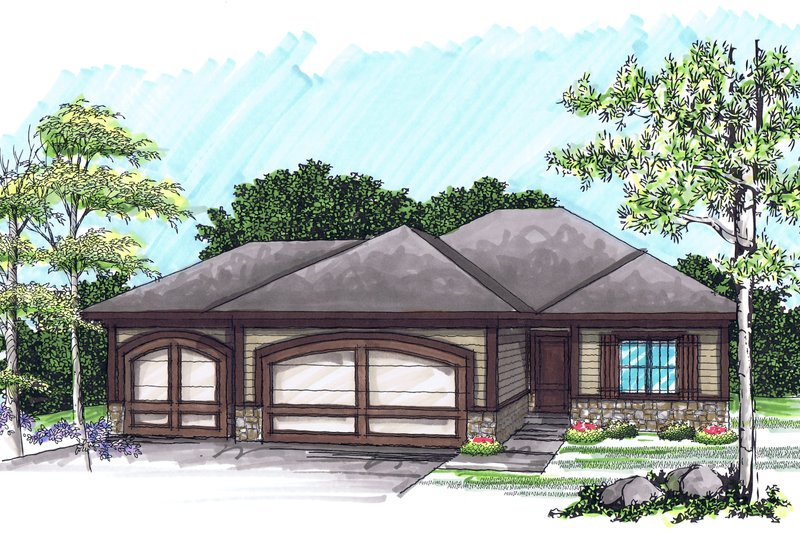 Ranch Style House Plan - 2 Beds 2 Baths 1367 Sq/Ft Plan #70-1020 Exterior - Front Elevation