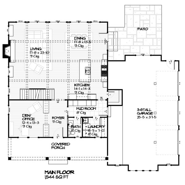 Craftsman house plan, bungalow floor plan