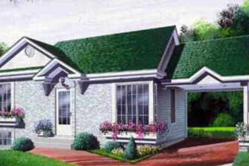 European Style House Plan - 2 Beds 1 Baths 896 Sq/Ft Plan #25-3009 Exterior - Front Elevation