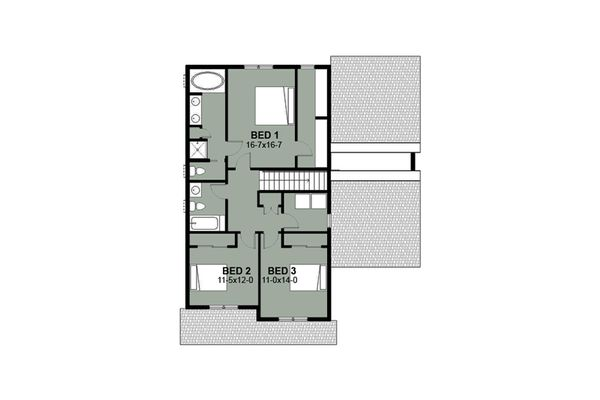 Craftsman Style House Plan - 3 Beds 2.5 Baths 1871 Sq/Ft Plan #497-2 Floor Plan - Upper Floor Plan