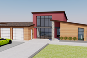 Contemporary Style House Plan - 3 Beds 4 Baths 2381 Sq/Ft Plan #542-18 Exterior - Front Elevation