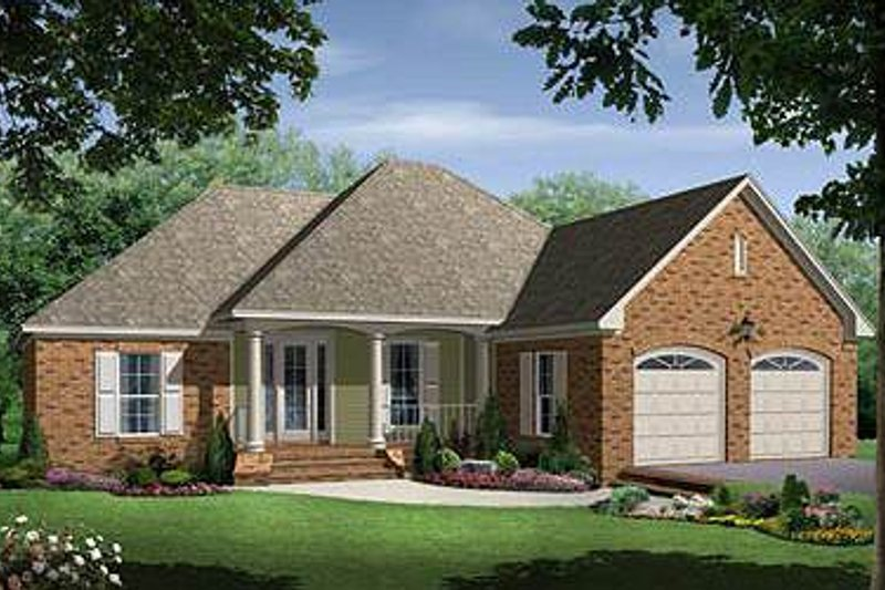 Country Style House Plan - 3 Beds 2 Baths 1750 Sq/Ft Plan #21-233 Exterior - Front Elevation