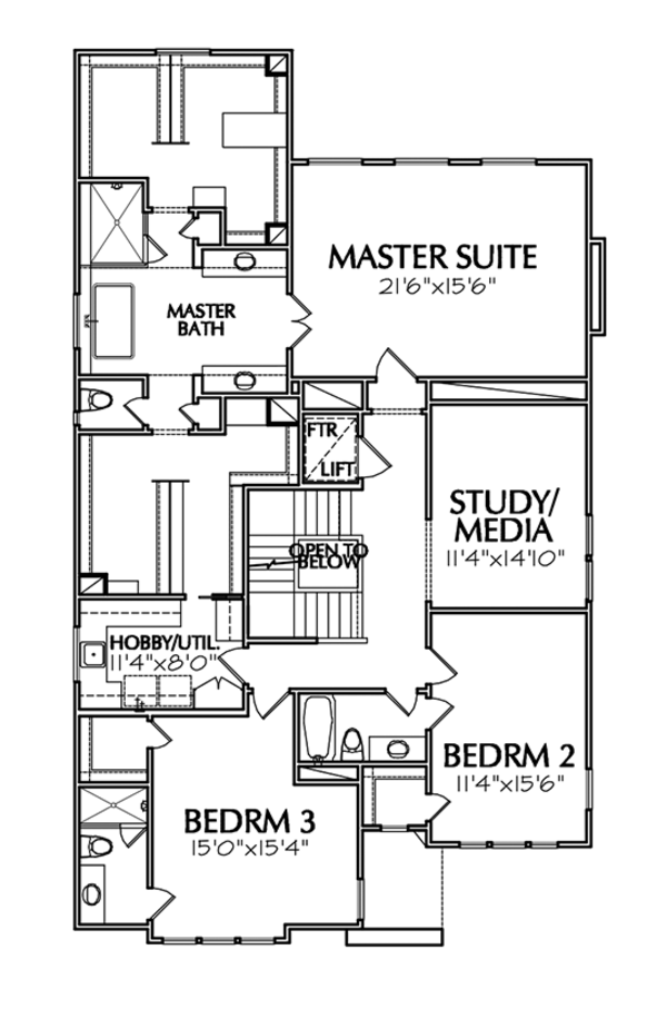 Mediterranean Floor Plan - Upper Floor Plan Plan #1021-13