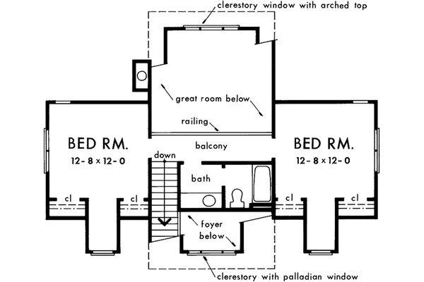 Colonial Floor Plan - Upper Floor Plan #929-50