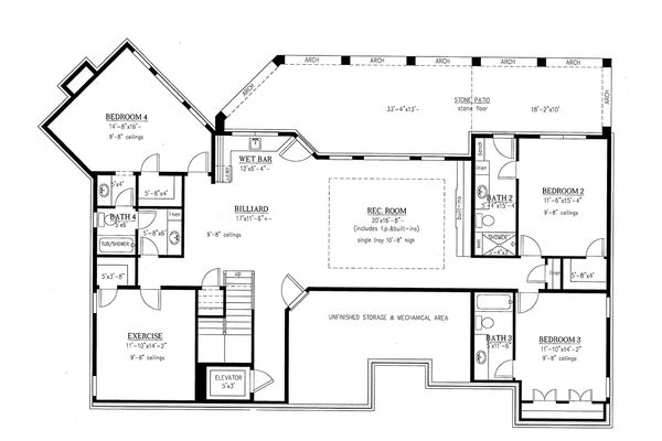 Craftsman Floor Plan - Lower Floor Plan Plan #437-100