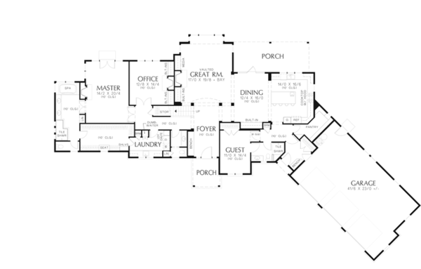 Craftsman Floor Plan - Main Floor Plan Plan #48-909