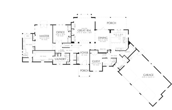 Craftsman Floor Plan - Main Floor Plan Plan #48-909