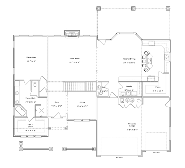 Mediterranean Floor Plan - Main Floor Plan Plan #1060-29