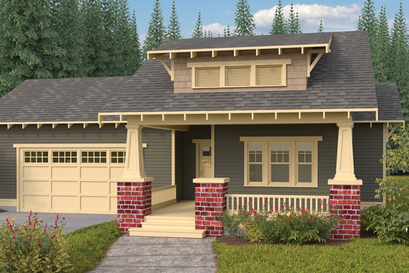 Craftsman Exterior - Front Elevation Plan #895-65 - Houseplans.com