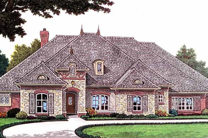 Country Exterior - Front Elevation Plan #310-1236