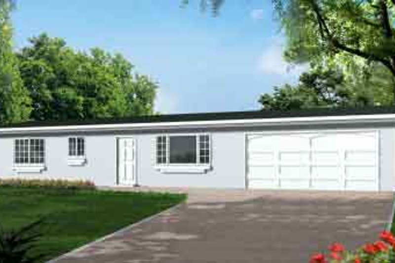 Ranch Style House Plan - 1 Beds 1 Baths 1149 Sq/Ft Plan #1-1055 Exterior - Front Elevation