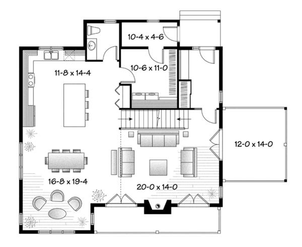 European Floor Plan - Main Floor Plan Plan #23-2512