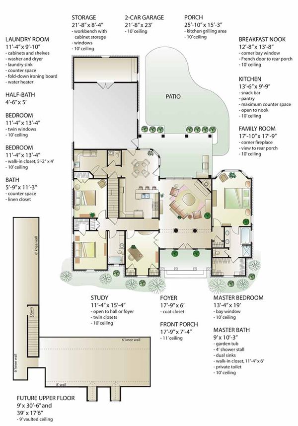 House Plan Design - Country Floor Plan - Main Floor Plan #406-9628