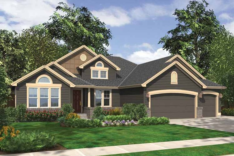 Ranch Exterior - Front Elevation Plan #132-544 - Houseplans.com