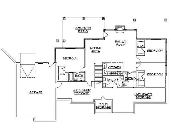 Traditional Floor Plan - Lower Floor Plan Plan #5-322