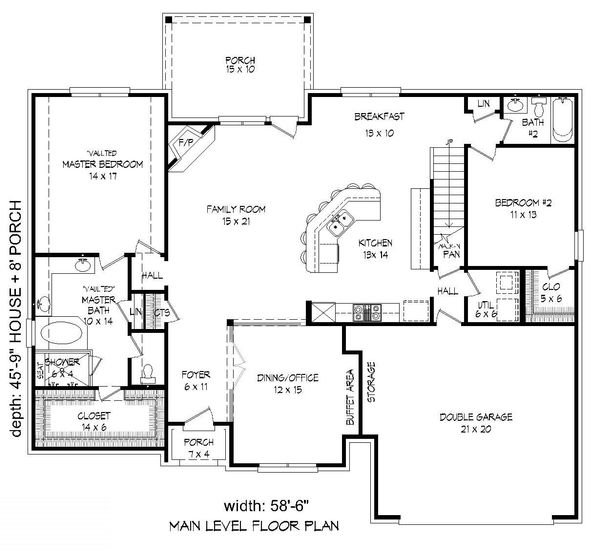 European Floor Plan - Main Floor Plan Plan #932-29