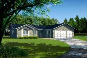 Ranch Exterior - Front Elevation Plan #1-760