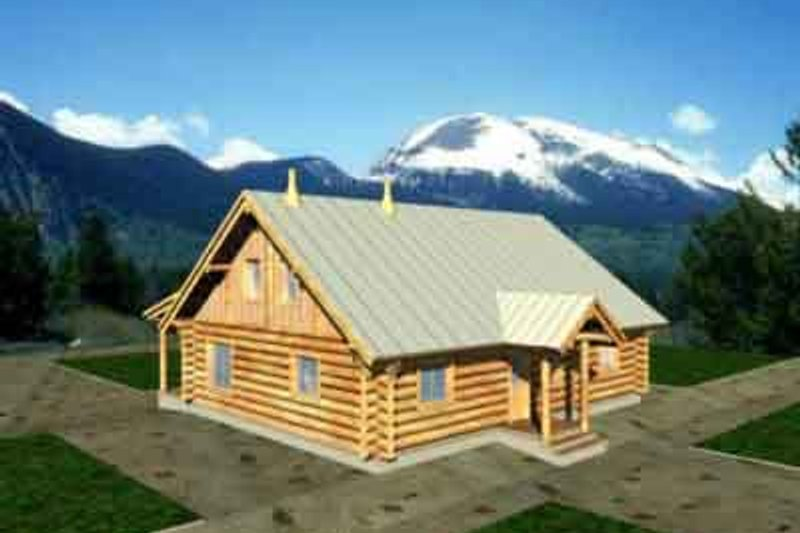 Architectural House Design - Log Exterior - Front Elevation Plan #117-114