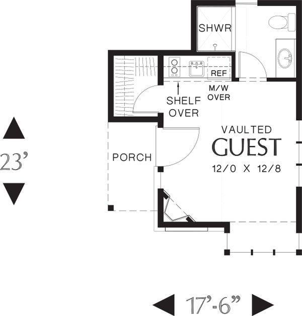 Main Level floor plan - 300 square foot Cottage