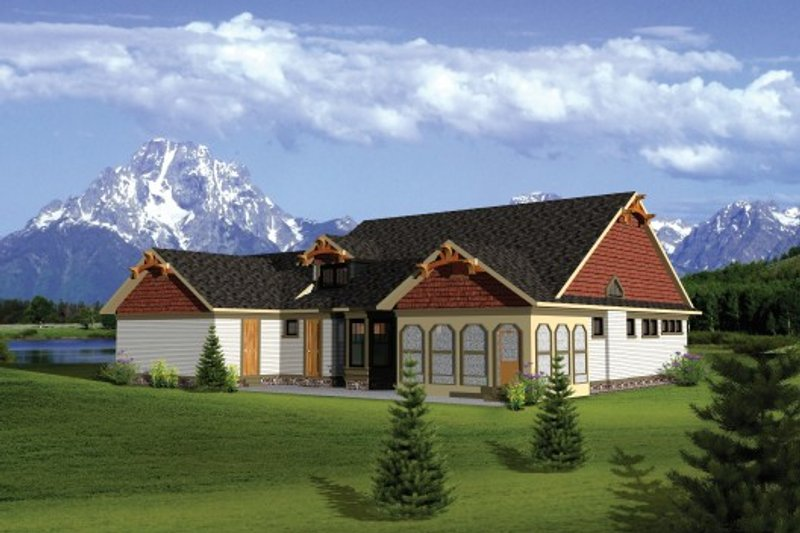 Craftsman Exterior - Rear Elevation Plan #70-1106 - Houseplans.com