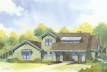 Home Plan - Bungalow style, Craftsman design front elevation
