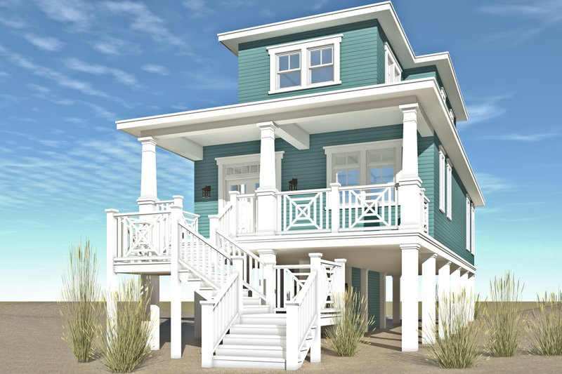 Beach Exterior - Front Elevation Plan #64-258 - Houseplans.com